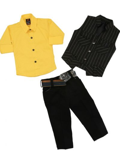 Boy Casual Coat With Shirt, Waistcoat And Pant Set-MJB7322178 Size 16 - (1 Year)