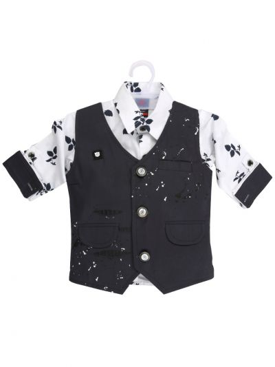 7 Days 7 Boy Casual Coat With Shirt, Waistcoat And Pant Set-MJB7322133 - 1 Year