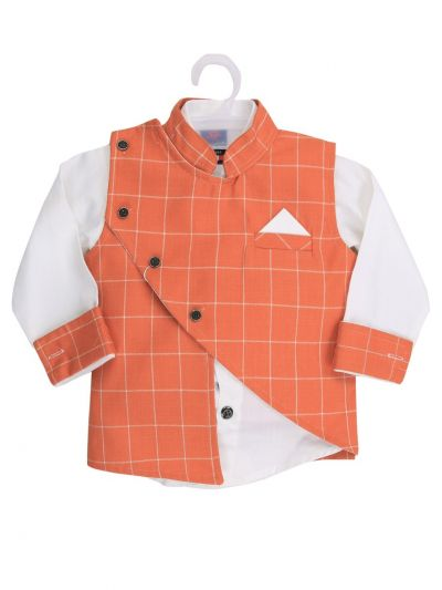 7 Days 7 Boy Casual Coat With Shirt, Waistcoat And Pant Set-MJB7322118 - 1 Year