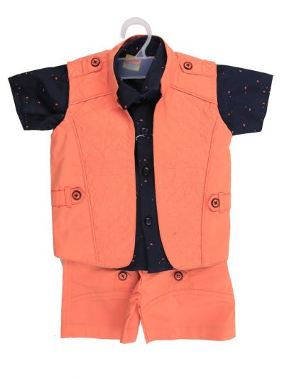 7 Days 7 Boy Casual Coat With T-Shirt, Waistcoat And Pant Set-MJC7452235 - 2 Year