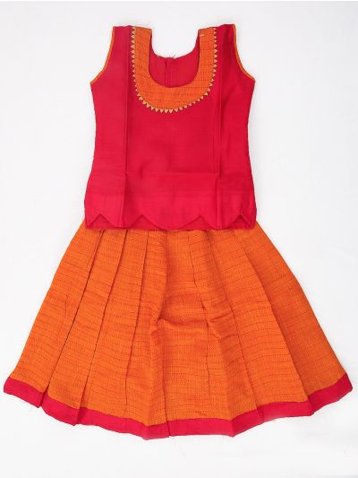 Girls Readymade Chanderi Silk Cotton Pavadai Set - GRM3001