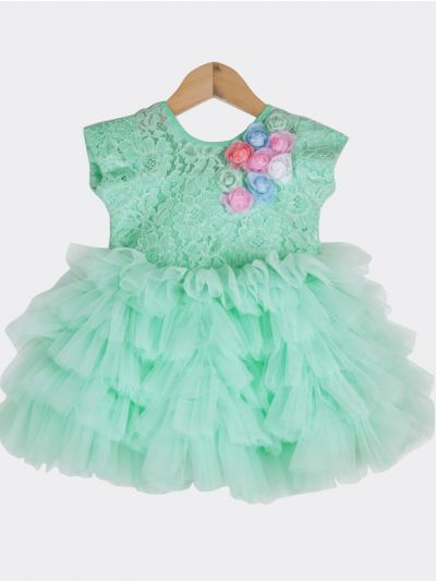 Girls Fancy Netted Frock-16 (1- Year) - MFB2453180
