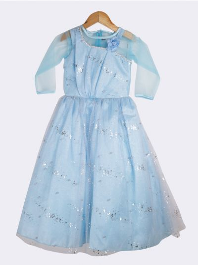 Girls Fancy Netted Long Frock-20 (3- Years) - MIA3018414