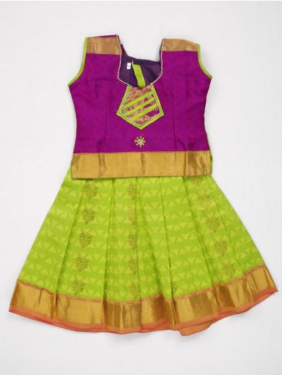 MJD8044860 - Girls Ready Made Art Silk Pavadai Set