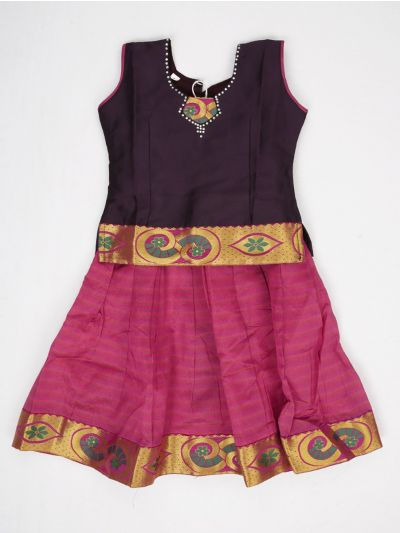 NCB0062813 - Girls Ready Made Art Silk Pavadai Set