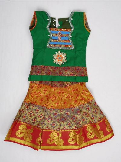 NCB0068609 - Girls Ready Made Art Silk Pavadai Set