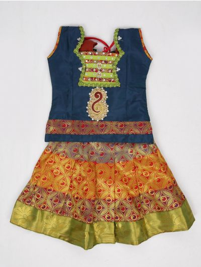 NCB0068624 - Girls Ready Made Art Silk Pavadai Set