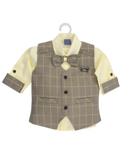 7 Days 7 Boy Casual Coat With Shirt, Waistcoat And Pant Set-MJB7322158 - 1 Year
