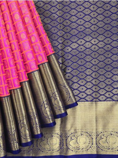 Vivaha Kanchipuram Pink Bridal Silk Saree - LJD0827770