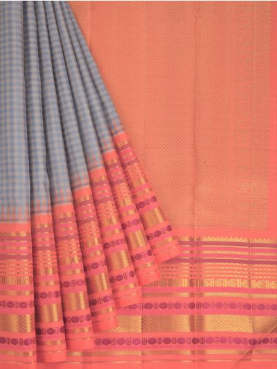 Estrila Exclusive Bridal Small Checks Handloom Kanchipuram Silk Saree - MID4519774