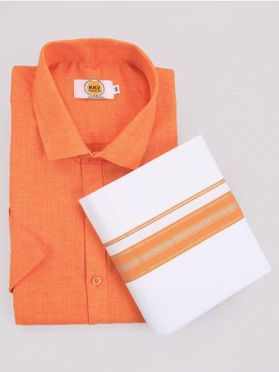 KKV Cotton Shirt & Fancy Border Dhoti Set  - MIC3813736