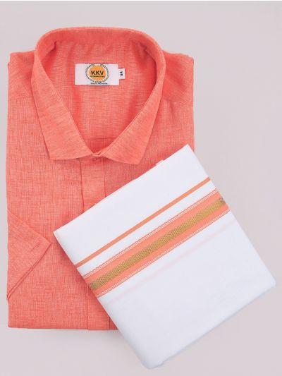KKV Cotton Shirt & Fancy Border Dhoti Set  - MIC3813742
