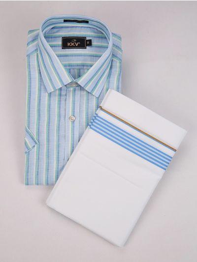 KKV Linen Blend & Fancy Border Dhoti Set - MGD0563954
