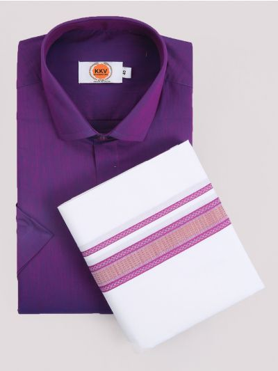 KKV Cotton Shirt & Fancy Border Dhoti Set  - MIC3813694