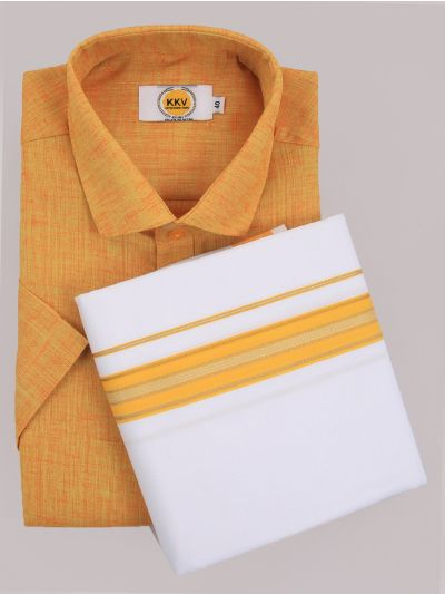 KKV Cotton Shirt & Fancy Border Dhoti Set  - MIC3813726