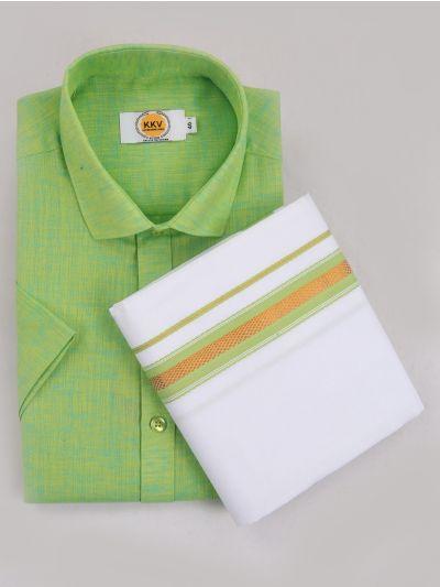 KKV Cotton Shirt & Fancy Border Dhoti Set  - MIC3813728