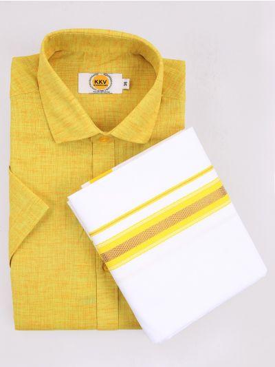KKV Cotton Shirt & Fancy Border Dhoti Set  - MIC3813755
