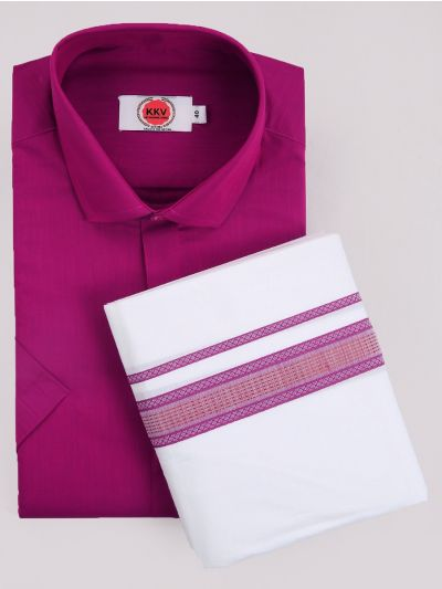 KKV Cotton Shirt & Fancy Border Dhoti Set  - MIC3813688