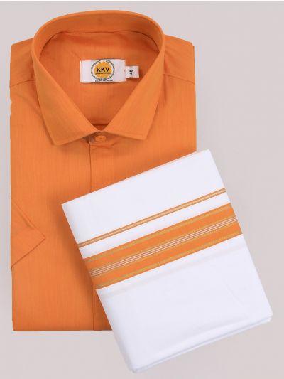 KKV Cotton Shirt & Fancy Border Dhoti Set  - MIC3813690