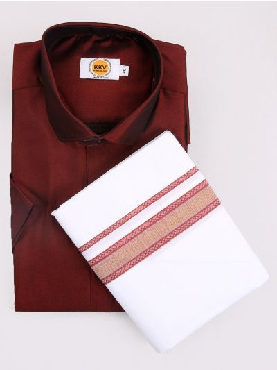 KKV Cotton Shirt & Fancy Border Dhoti Set  - MIC3813691