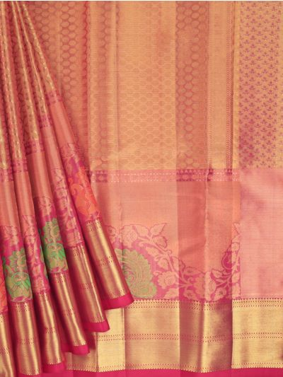 Vivaha Exclusive Bridal Zari Border and Pallu Handloom Kanchipuram Silk Saree - MID4733882