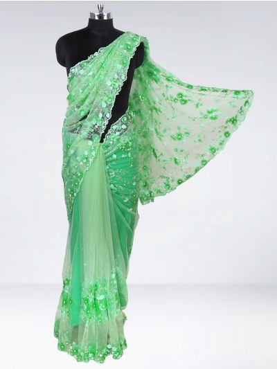 Kyathi Exclusive Thread Jaal Hand Work & Scallop Border Designer Saree - MHD2556724