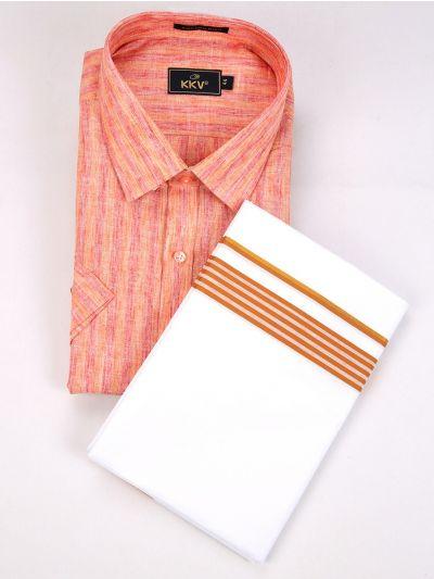 KKV Linen Blend & Fancy Border Dhoti Set - MGD0564053