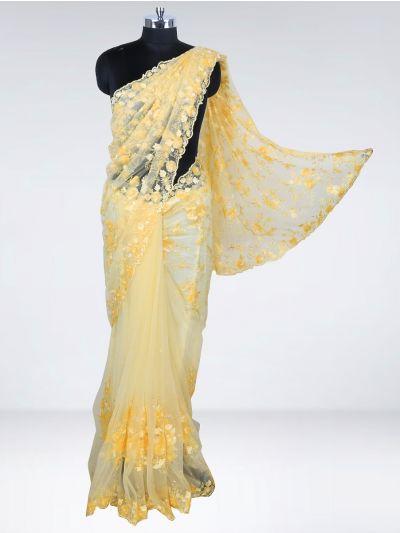 Kyathi Exclusive Thread Jaal Hand Work & Scallop Border Designer Saree - MHD2556726