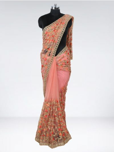 Kyathi Exclusive Self Thread Embroider & Diamond Cut Work Designer Saree - MIA2929004