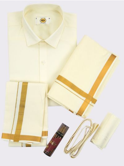 KKV Pure Cotton Shirt & Dhoti Set-KKVPCS001