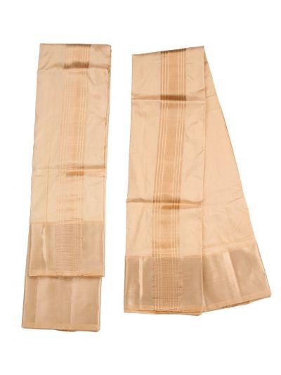 Vivaha Traditional Pure  Silk Fancy Border Dhoti With Towel