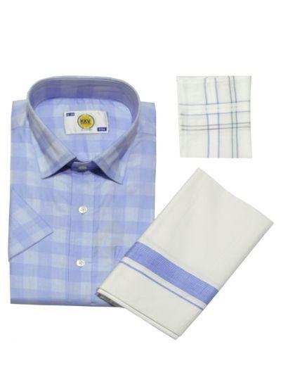 KKV Cotton Shirt and Fancy Border Dhoti Set - NID7078210