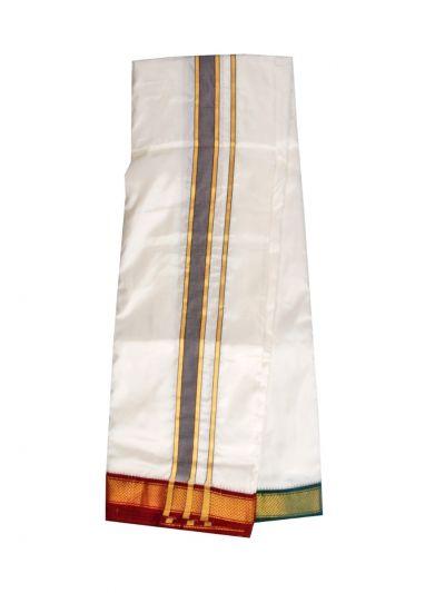 Vivaha Fancy Border Mayilkan Silk Dhoti and Angavastram - MID5843231