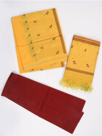Kyathi Exclusive Kora Cotton Dress Material With Zari Work - MIC4181273