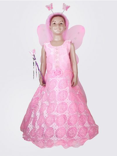 Exclusive Girls Neted Long Frock With Patch Work - MHD2224506
