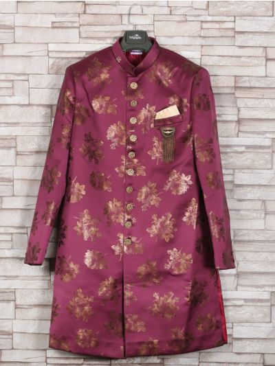 NGA7535554 - Exclusive Silk Jacquard Indo Western Suit