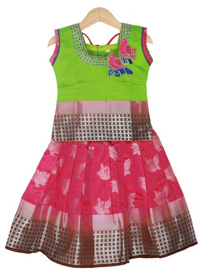 Girls Ready Made Art Silk Pavadai Set - GPP5014