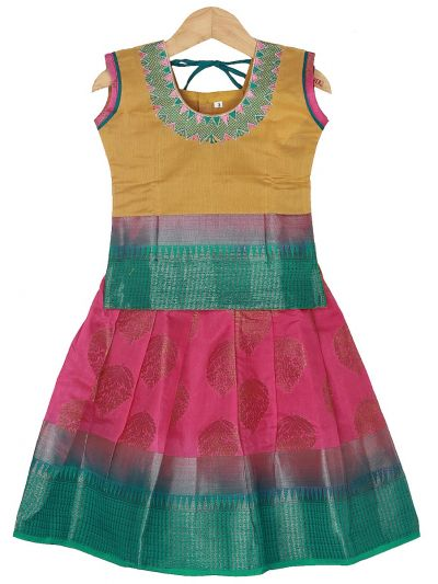 Girls Ready Made Art Silk Pavadai Set - GPP5015