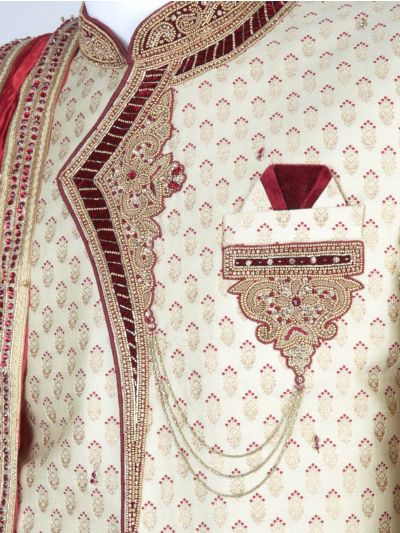 NEA1608527 - Exclusive Heavy Jacquard Hand Work Indo Western Suit