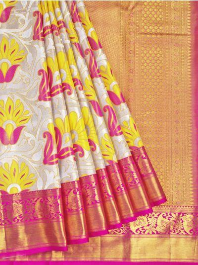 Vivaha Cream Wedding Silk Saree - OFB8739512