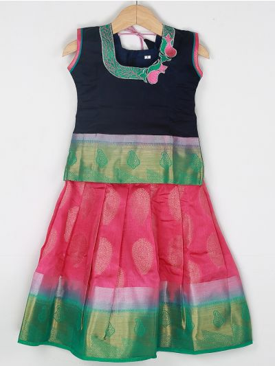 Girls Ready Made Art Silk Pavadai Set - GPP5021