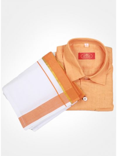 Orange Color Boys Cotton Dothi Set