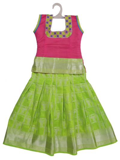 Girls Ready Made Art Silk Pavadai Set - GPP5012