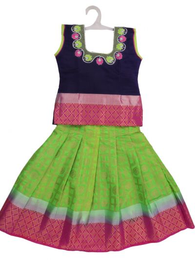 Girls Ready Made Art Silk Pavadai Set - GPP5011