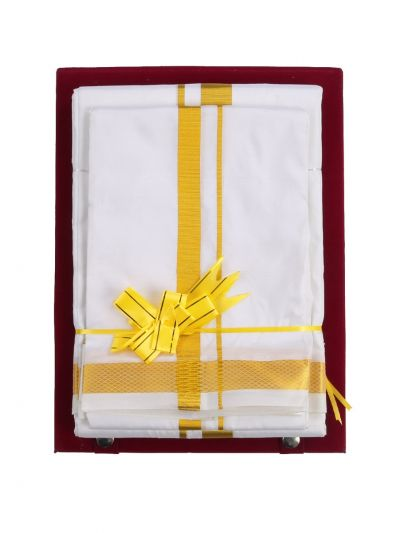 Vivaha Traditional Pure Silk Dhoti Shirt Material and Angavastram Set - NEB1856418