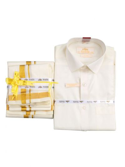 Vivaha Pure Fancy Border Silk Shirt & Dhothi Set - NGD2455832