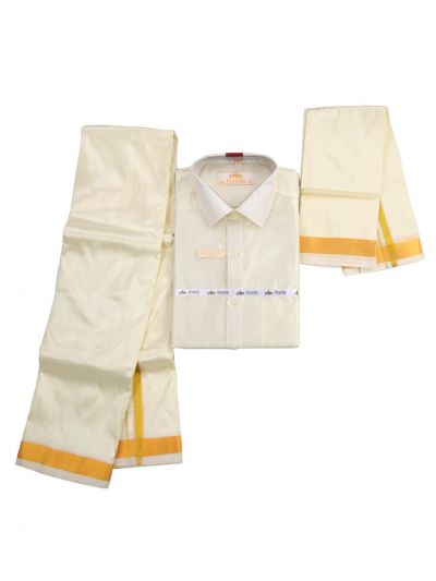 Vivaha Pure Fancy Border Silk Shirt & Dhothi Set - NIA5641197