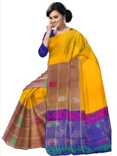 Bairavi Traditional Yellow Silk Saree