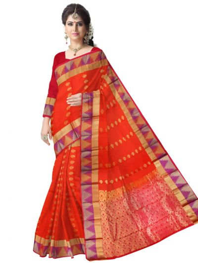 Bairavi Traditional Red Silk Saree