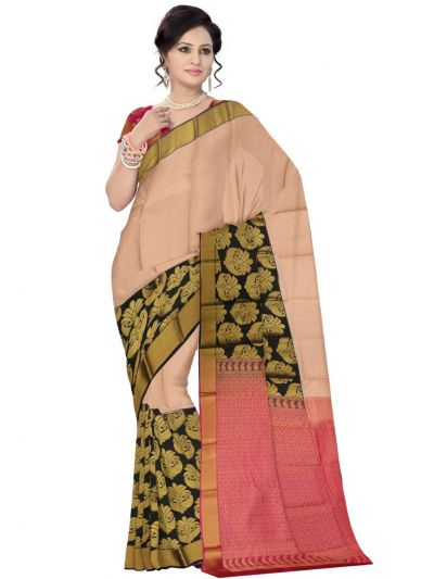 Bairavi Traditional Light Apricot Color Silk Saree